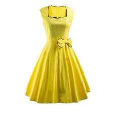 Summer Party Bow Solid Color Sleeveless Vintage Dress For Women