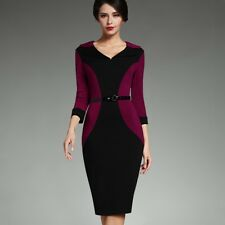 Women Patchwork V Neck 3/4 Turn-down Sleeve Belted Pencil Dress RQ128
