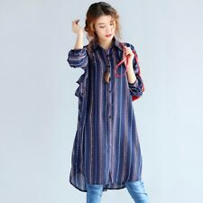 Women Fashion Style Stripes Long Sleeved Shirt Dress Plus Size