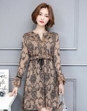 Spring Fashion Women V Neck Casual Wear Long Sleeves Printed Plus Size Dress