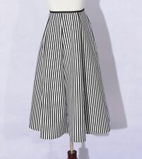 Autumn Black and White Color Vertical Striped Women Long Skirt CR429