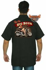 Men's Biker Mechanic Work Shirt Toys For Big Boys  Motorcycle Chopper Hot Babe