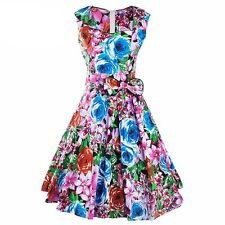 Women Summer Spring Wear Floral Print Zipper Sleeveless Blue Color Dress EQ503