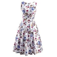Spring Summer Fashion Flower Floral Print Sleeveless Dress For Women EQ502