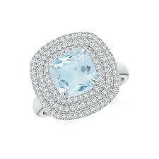 Triple Halo Cushion Cut Aquamarine Cocktail Ring 14K White Gold Size 3-13