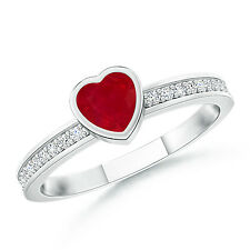 Bezel Heart Ruby Promise Ring with Diamond Accents 14K White Gold