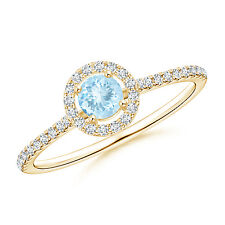 Floating Aquamarine Halo Ring with Diamond Accents 14K Yellow Gold
