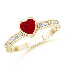 Bezel Heart Ruby Promise Ring in 14K Yellow Gold with Diamond Accents