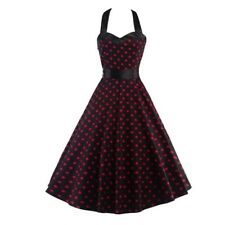 Women Vintage Polka Dot Casual Zipper Decorated Knee Length Dress