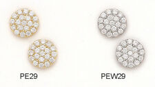 14K Pure Solid Yellow/White Gold 10MM Fancy Flower Earrings Set With CZ