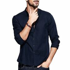 Mens Simple Slim Long Sleeve Pointed Collar Stitching Casual Shirt  Blue M~XXL