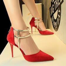 Pointed Toe Hollow Out High Heels Stiletto Sandal Back Zip Suede OL Women Shoes