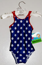NWT Baby Buns Infant Girls Navy with White Polka Dots One-Piece Swimsuit 12M