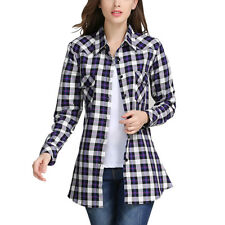 Women Cotton Casual Lapel Shirt Plaid Flannel Shirt Top Blouse Plus Size M-6XL