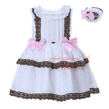 Girl Princess Dress + Headband Set Lace Bow Embroidered Wedding Party Communion