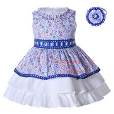 Girl Flower Dress and Headband Set 2PCS Blue Lace Layered Wedding Pageant Party