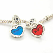 Authentic Genuine S925 Sterling Silver Husband love wife Heart Pendant Charm