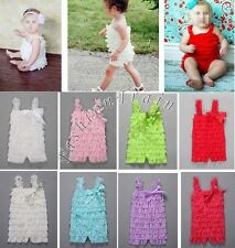 Lovely Baby Infant Girl Kid Lace Bowknot Ruffles One-Piece Petti Romper Bodysuit