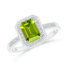 Emerald Cut Natural Peridot Diamond Halo Wedding Ring 14k White Gold/Platinum