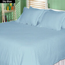 1200TC Soft Egyptian Cotton Complete Bedding Items All UK Size Sky Blue Striped
