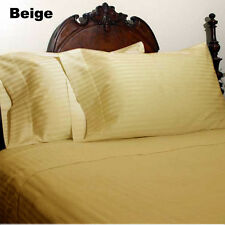 1200TC Soft Egyptian Cotton Complete Bedding Items All UK Size Beige Striped