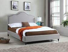 King Queen Twin Full Size Platform Bed Frame Wood Gray Upholstered Headboard