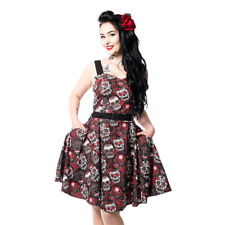 Rockabella Carmen Womens Black/Red Sugar Skull Rockabilly Gothic Skater Dress