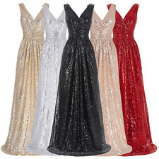 New Women Sexy Dress Bridesmaid Long Prom Ball Gown Sequins Cocktail Party Dress