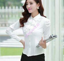 Womens Long Sleeve Slim Fit Lapel Tops Career Dress Button Flouncing lace Shirt