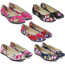 NEW Women Ladies Ballet Rose Floral Flower Casual Flat Canvas Pointed Toe Shoes