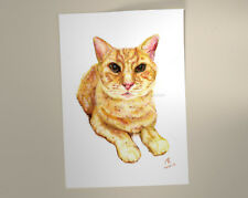 Ginger Cat Print of my watercolour pencil drawing. Pussy Cat Portrait