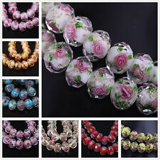 Lampwork Glass Round Faceted Charms Loose Spacer Beads Jewelry Finding 10pc