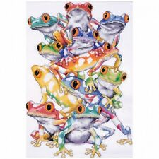 Frog Pile Counted Cross Stitch Kit, 28cm x 41cm , 14-count. Shipping Included
