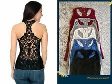 Sexy Women's Lady Back Lace Flower Vest Tank Tops Sleeveless Casual T-Shirt