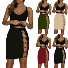 Fashion Women's Side Lace-up Bodycon Bandage Short Mini Skirt High Waist Dress