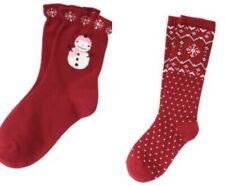 Gymboree Alpine Sweetie Socks 3-4 5-7 8 and up Knee High Cozy Red Snowman 2010