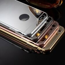 Aluminum Ultra-thin Mirror Metal Case PC Cover + Tempered Glass Film For iphone