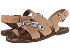 SAM EDELMAN WOMENS DAILEY GLADIATOR SANDALS LEATHER RHINESTONE BLING NATURAL NEW