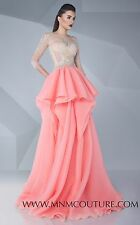 NWT MNM Couture 3/4 Sleeve Beaded Pink Ruffled Gown