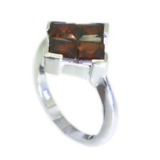 Garnet 925 Sterling shapely handcrafted Ring Red L-1in UK K,M,O,Q