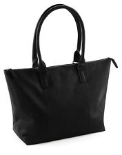 LADIES TOTE BAG PADDED LAPTOP POCKET SHOPPER HANDLES WORK SMART LEATHER LOOK NEW
