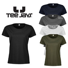 TEE JAYS LADIES T-SHIRT 100% SOFT COTTON BASIC TOP RAW EDGE NECK RELAXED FIT GYM