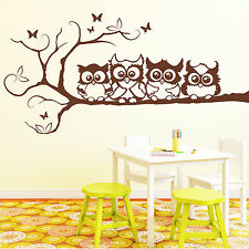 10344 Wall Tattoo 4 Owl Friends on a Branch/4 Sizes/49 Colours Eule Owl
