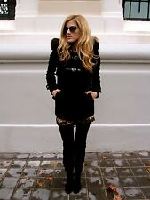 ZARA DUFFLE COAT WITH FUR TRIM HOOD JACKET PARKA BLACK SOLD OUT BLOGGERS Small S