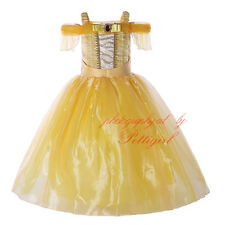Girls Belle Fancy Dress Party Princess Kids Beast and the Beauty Yellow Costume