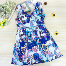 2017 Blue Floral Womens Swimwear Swimsuit Waisted Swimwear Swimdress Plus Size