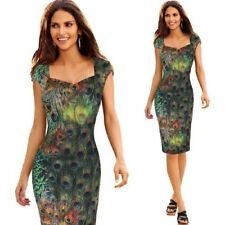 Women Elegant Vintage Feather Print Cap Sleeves Casual Party Evening Dress