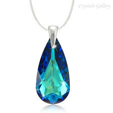 SALE**Genuine Swarovski Elements Teardrop Pendant Necklace Sterling Silver 925