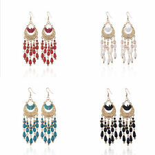 Women Carved Ear Stud Resin Water Drop Tassel Eardrop Dangle Earring Jewelry Hot