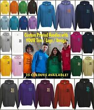 Custom printed hoodies 25 colours XS - 5XLarge printed with YOUR logo/name/Txt